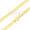 Karkötő 14K sárga aranyból - nagyobb lapos elemek, vésetek, téglalapok, 200 mm
