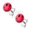 Beszúrós fülbevaló sebészeti acélból, piros smiley