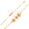 Karkötő 9K sárga aranyból - lánc, tábla rózsaszín virágokkal, fénymáz
