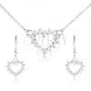 Szett 925 ezüstből - nyakék és lógó fülbevaló, cirkóniás szív körvonal