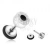 Kerek hamis plug fülbe acélból, görög kulcs, fekete karika, 6 mm