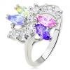 Gyűrű ezüst színben - színes, magszem alakú cirkóniák, átlátszó, hullámos vonal
