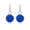 Fényes, ezüst fülbevaló - zafír kék kör, cirkóniák, 9 mm