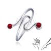 Ezűst gyűrű lábra - csavart forma, piros cirkóniákkal a végén