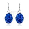 Fényes, ezüst fülbevaló kék, ovális függővel, közepes nagyság