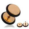 Hamis acél piercing a fülbe arany színben, gumikarikák
