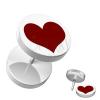 Fake piercing a fülbe akrilból - kör alakú, fehér színű piros szívvel