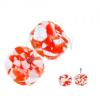 Akril fake plug a fülbe - fehér-narancssárga korongok