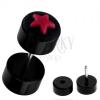 Hamis fekete piercing a fülbe akrilból - piros csillag