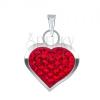 Fényes ezüst medál - sima, szimmetrikus szív, cirkóniák