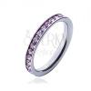 Gyűrű rózsaszín cirkóniákkal - acél karika