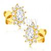 Fülbevaló 14K aranyból - ovális csillogó cirkónia virág
