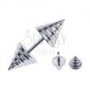 Kúp alakú fake piercing fülbe - ezüst csíkok
