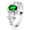 Gyűrű ovális zöld kővel, átltászó kör, könnycsepp, 925 ezüstből