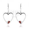 Fülbevaló 925 ezüstből, szimmetrikus szív körvonal, piros és átlátszó cirkónia