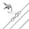Nyaklánc 925 ezüstből, ugró delfin átlátszó kövekkel díszítve