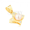 Arany medál - fényes lepke kerek átlátszó cirkóniákkal, gyöngy