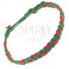Zöld-piros zsinóros karkötő, fonat