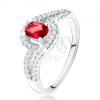 Gyűrű ovális, piros kővel, hullámos, cirkóniás szárak, 925 ezüst