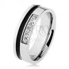 Tükörfényes, acél gyűrű, ezüst színben, fekete sáv, cirkóniákól álló vonal