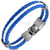 Kék-fehér műbőr karkötő, három sáv fonott mintával, mozgatható oválisok