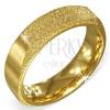 Szögletes arany színű szemcsés gyűrű acélból két matt oldallal