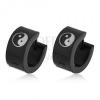 Szögecskés fülbevaló 316L acélból fekete színben, YIN - YANG szimbólum