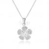 925 ezüst nyakék, gravírozott virág, átlátszó cirkóniákkal kirakott közép
