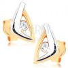 375 arany fülbevaló - kétszínű háromszög körvonal, átlátszó cirkónia