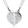 Két lánc kettős medállal - félbevágott szív Best Friends , 925 ezüst