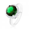 Gyűrű 925 ezüstből, kerek smaragdzöld cirkónia, tiszta cirkónia kerület