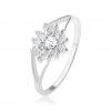 925 ezüst gyűrű, átlátszó cirkóniás szív, csillogó körvonal