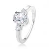 Eljegyzési gyűrű három, csillogó cirkóniával, 925 ezüst