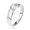 925 ezüst gyűrű, szélesebb szárak bemetszésekkel, kerek csillogó cirkónia