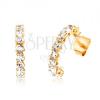 Fülbevaló 9K aranyból - félkörök, kerek, átlátszó cirkóniákkal kirakva