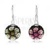 Kétoldalas fülbevaló 925 ezüstből, fekete golyók, gyöngyök, színes virágok, 14 mm