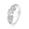 925 ezüst gyűrű, átlátszó kövek, kettős szár, díszített oldalak