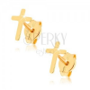 Fülbevaló 9K sárga aranyból - fényes latin kereszt