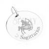 Medál - kerek tábla, NYILAS csillagjegy, átlátszó kő, 925 ezüst