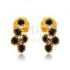 Beszúrós fülbevaló 9K sárga aranyból, fürt kerek fekete színű zafírokból