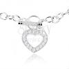 925 ezüst nyakék, masszív lánc, ciróniás szív kontúr
