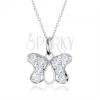 925 ezüst nyakék, pillangó körvonal medál cirkóniás berakásokkal