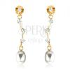 375 arany fülbevaló - átlátszó cirkóniák aszimmetrikus pálcán, ovális fehér gyöngy