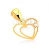 Medál 9K sárga aranyból - finom szív körvonal, átlátszó cirkónia