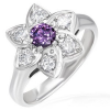 Gyűrű és virág - nagy lila cirkonkő, tiszta cirkónia szirmok