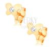 Beszúrós fülbevaló 14K sárga aranyból - fényes lapos pillangó, átlátszó cirkónia fülbevaló