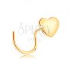 14K sárga arany orrpiercing, ívelt - kis lapos szív