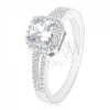 925 ezüst gyűrű, cirkóniás szárak, négyzet cirkónia