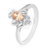 Csillogó gyűrű, világosnarancssárga csiszolt ovális, átlátszó cirkóniák, levélkék