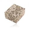 Bézs-fekete ajándékdoboz gyűrűre vagy fülbevalóra, virágos motívum
